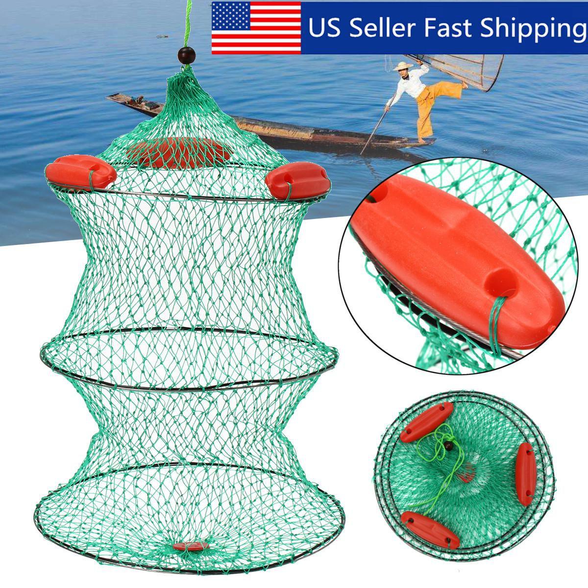 Quality Fishing Bait Trap Crab Net Crawdad Shrimp Foldable Cast Dip Cage Fish