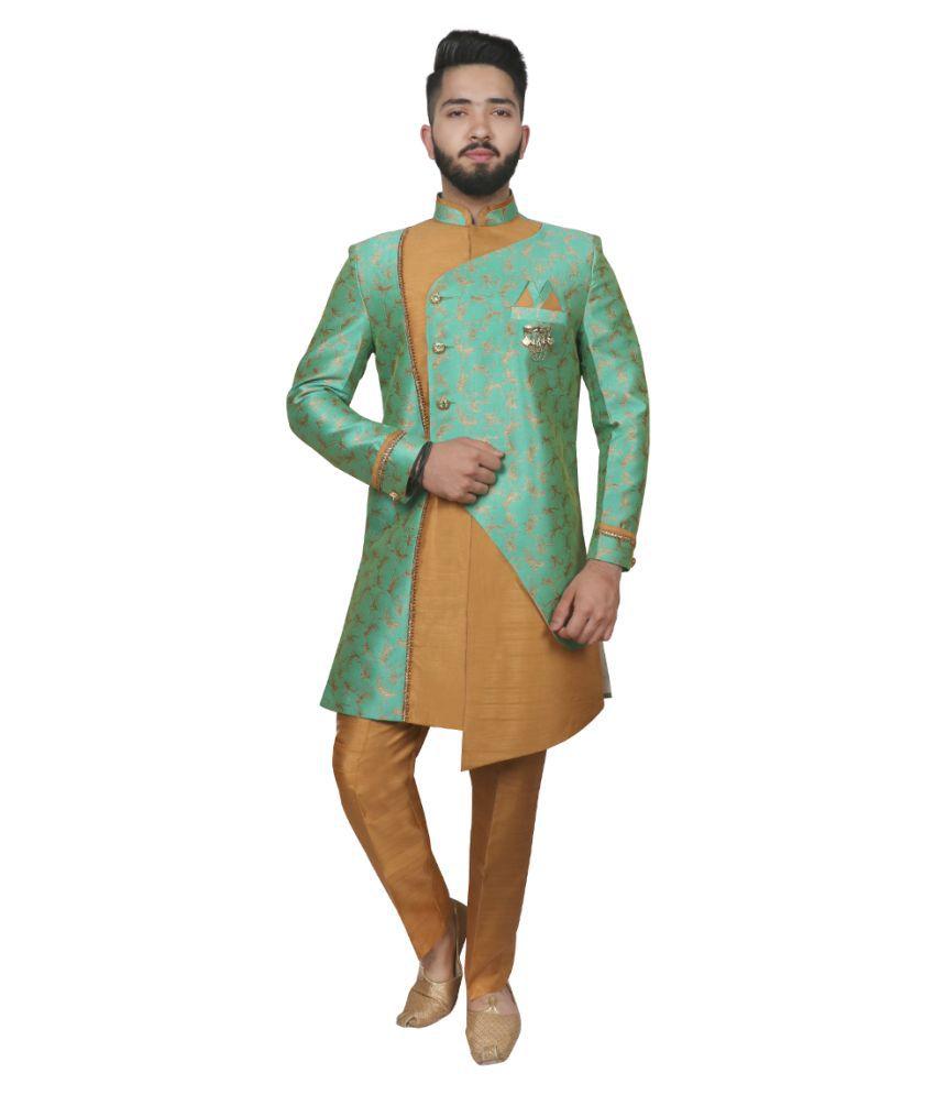SG RAJASAHAB Green Brocade Sherwani