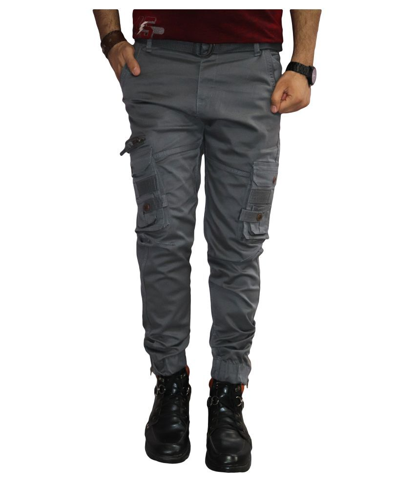 Urban Legends Grey Regular -Fit Pleated Cargos