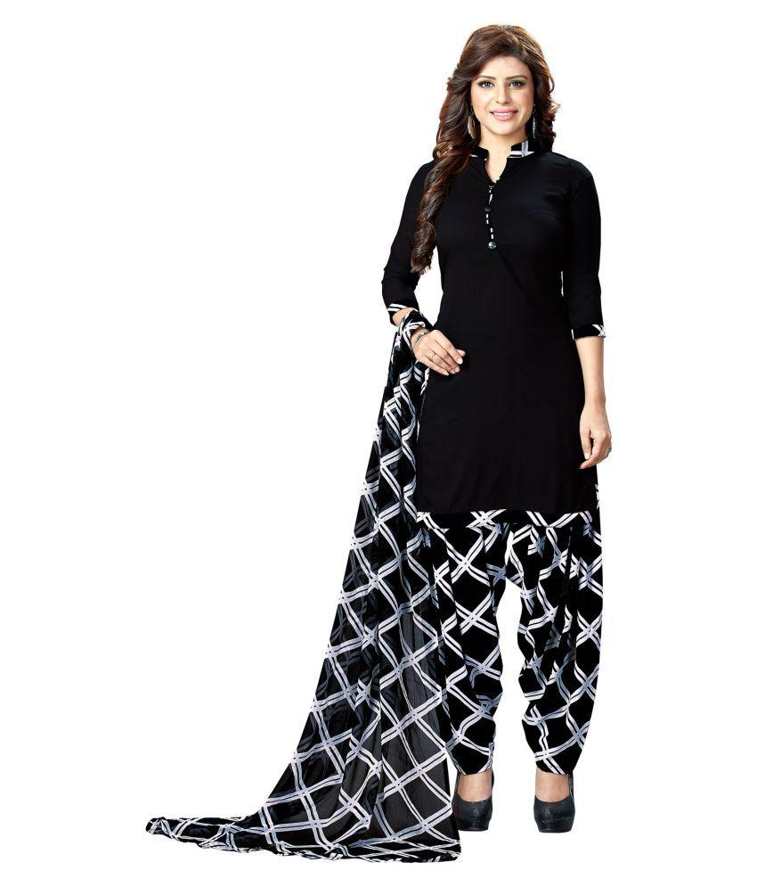 Salwar Studio Black Synthetic Dress Material