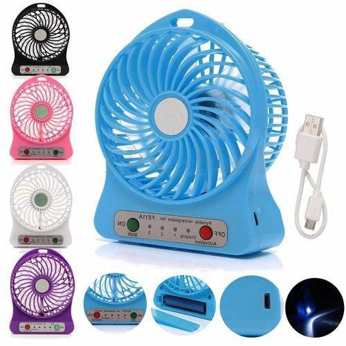 Gadgetbucket Portable 3 Gear Speed 4.5W Cooling Fan Mini USB 3.7V LED Fan Li-ion 2200mAh Battery Rechargeable Multifunctional Fan