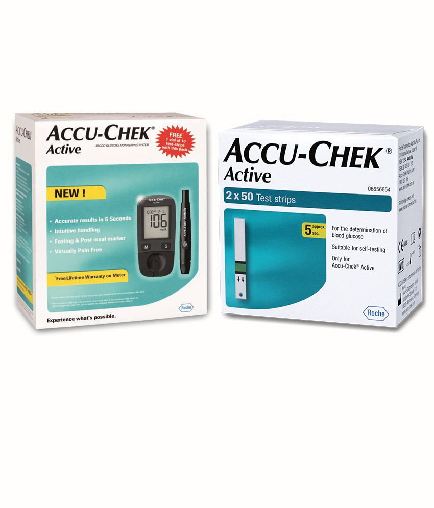 aee3fcd770e Accu-Chek Active Blood Glucose Monitor with 100 Test Strips Combo with  Expiry Jan -2020  Buy Online at Best Price in India on Snapdeal