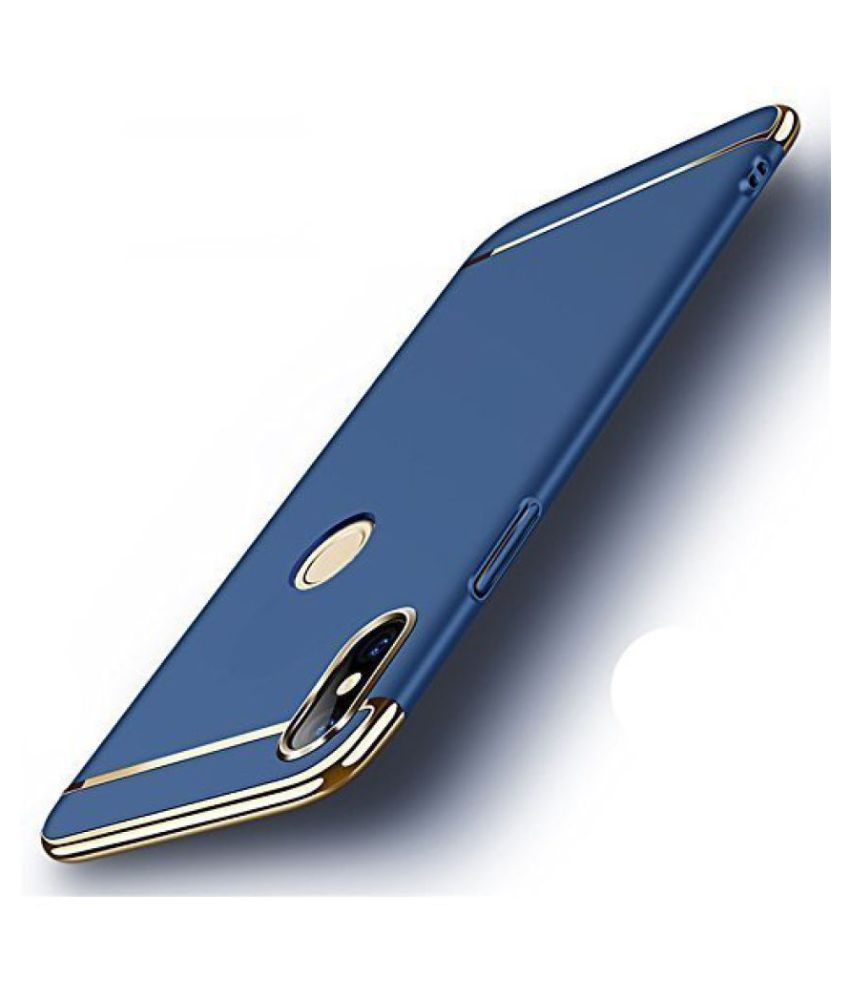 Apple iphone X Plain Cases KOVADO - Blue 3 In 1 thin chromium glossy finish back cover