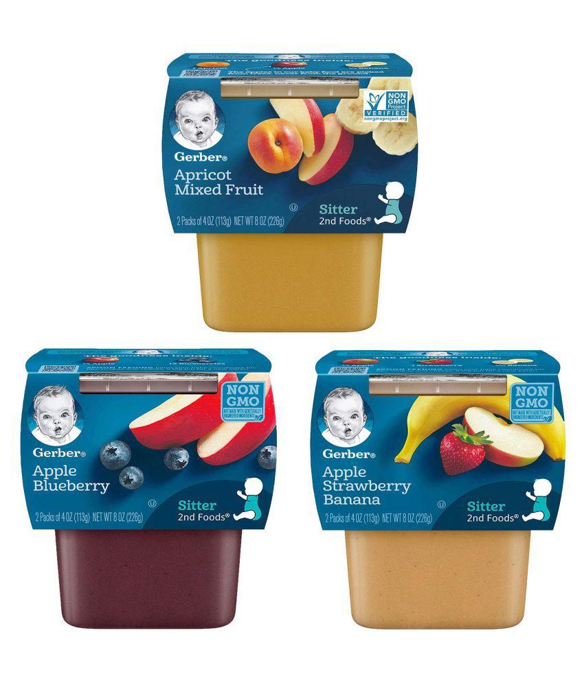 Gerber Apple Blue, Apple Strawb Banana, Aprico Snack Foods for Under 6 Months ( 678 gm ) Pack of 3