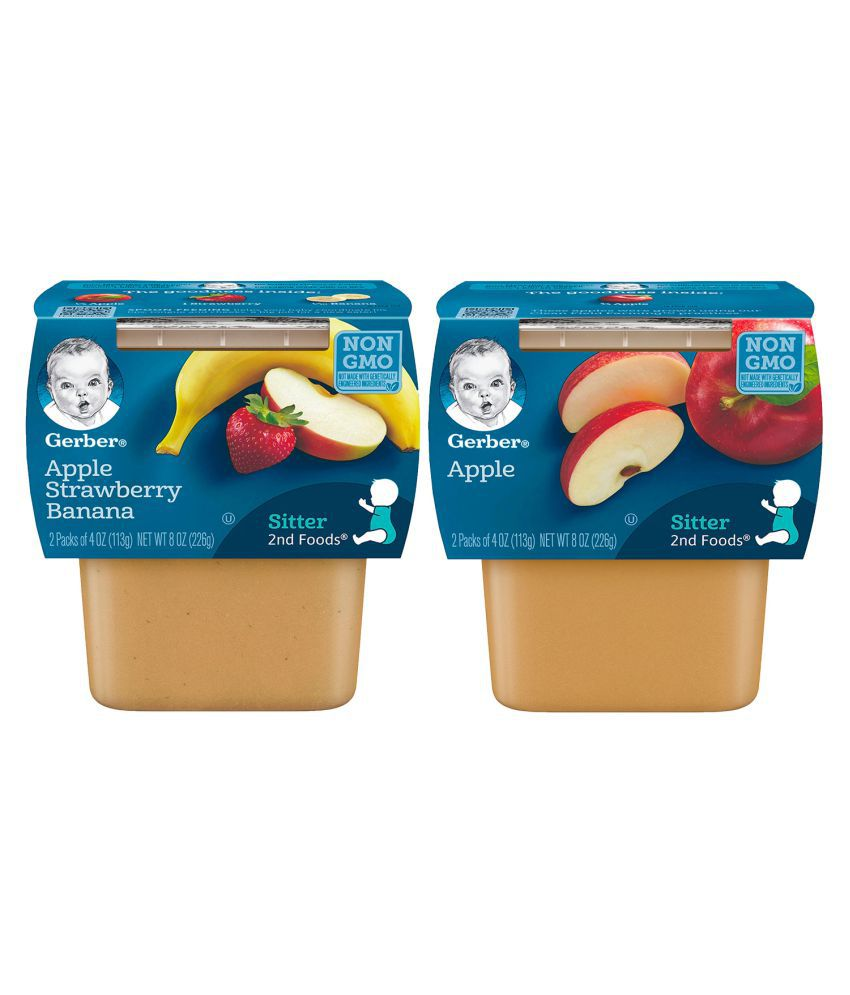 Gerber Apples + Apple Strawberry Banana Snack Foods for 12 months + ( 452 gm ) Pack of 2