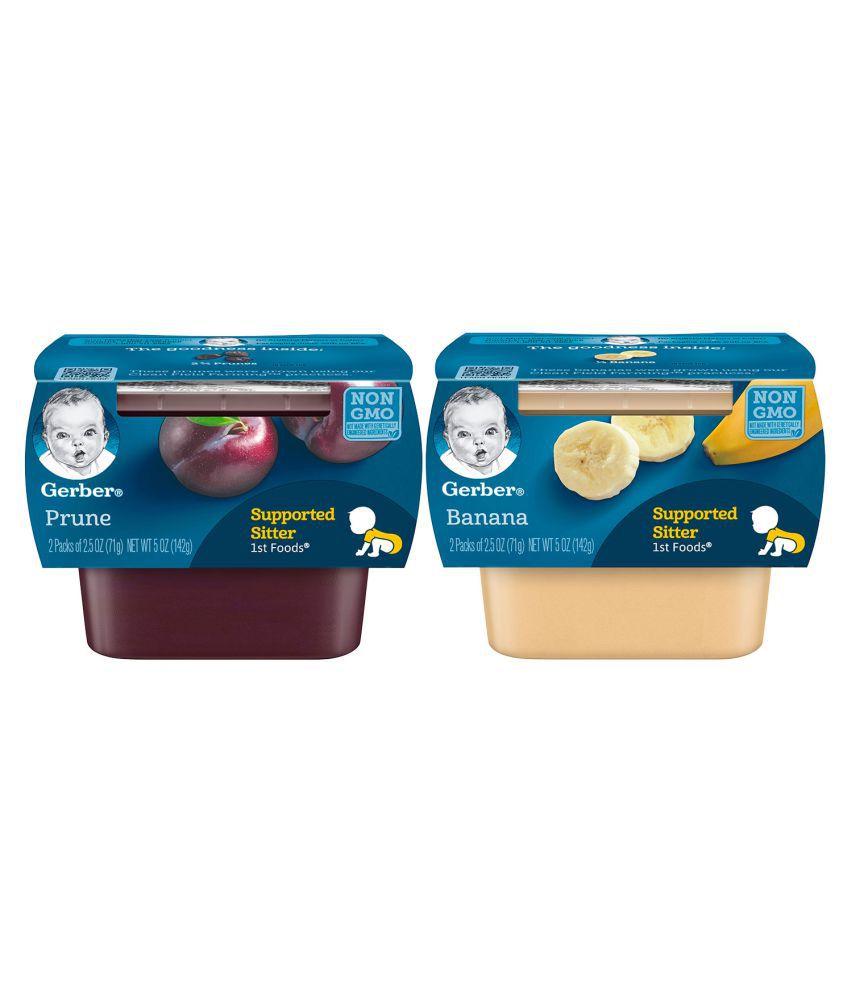 Gerber Bananas + Prunes Snack Foods for Under 6 Months ( 284 gm ) Pack of 2