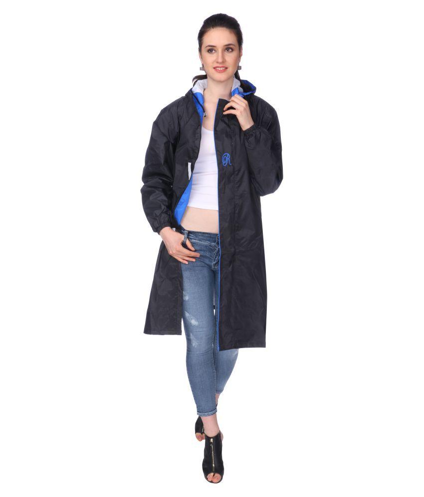 Goodluck Nylon Long Raincoat - Black