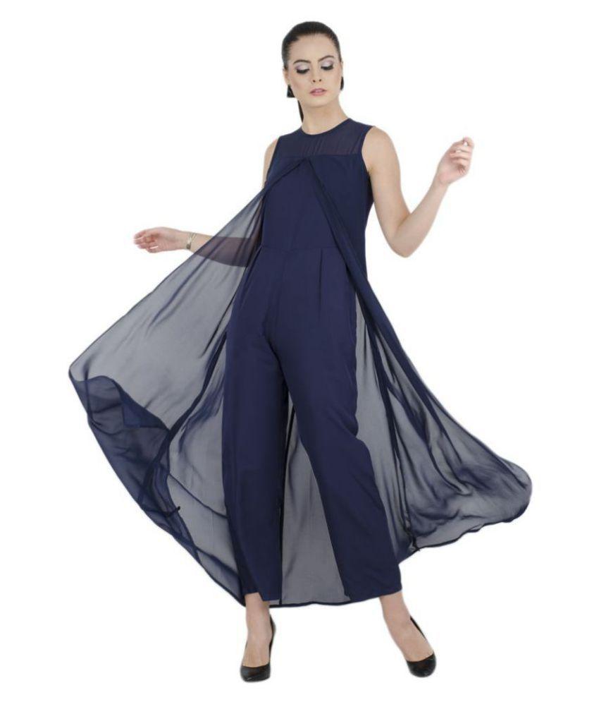 bahrupiya clothing Blue Crepe Jumpsuit