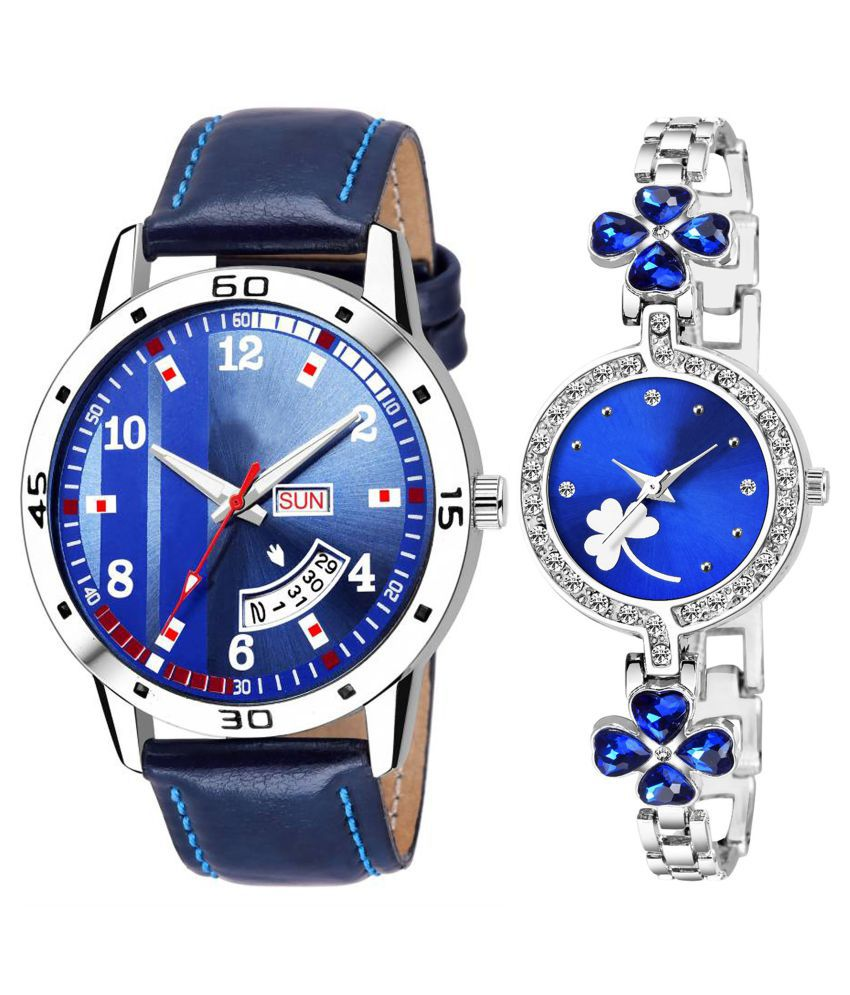 Herita Enterprise Blue Dial Day And Date New Stylish Couple Watch For Men And Women 118