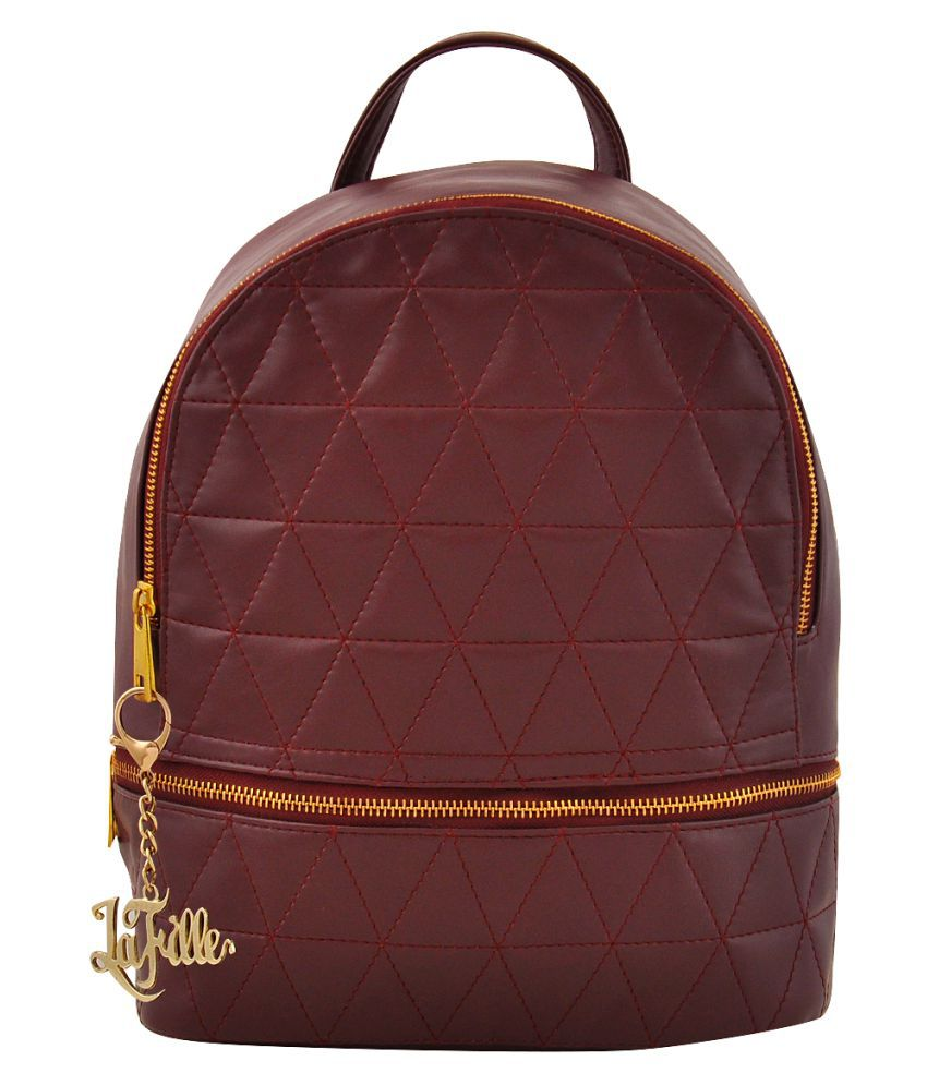 LaFille Maroon Faux Leather Handheld