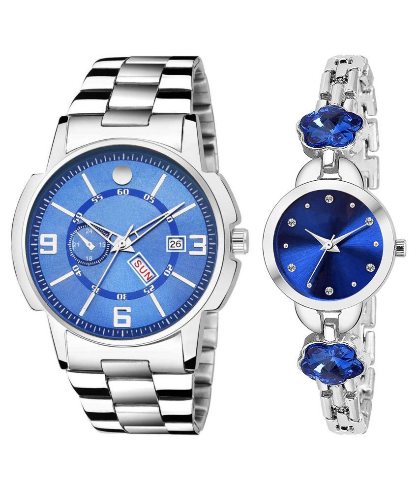 Herita Enterprise Blue Dial Day And Date New Stylish Couple Watch For Men And Women 224