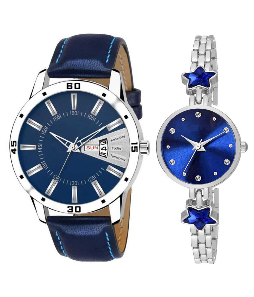 Herita Enterprise Blue Dial Day And Date New Stylish Couple Watch For Men And Women 154