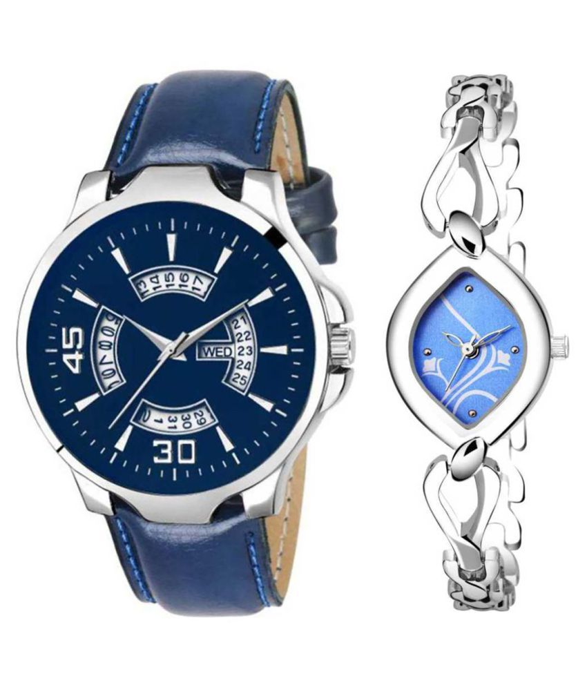 Vasant Impex Blue Dial Day And Date New Stylish Couple Watch For Men And Women 153