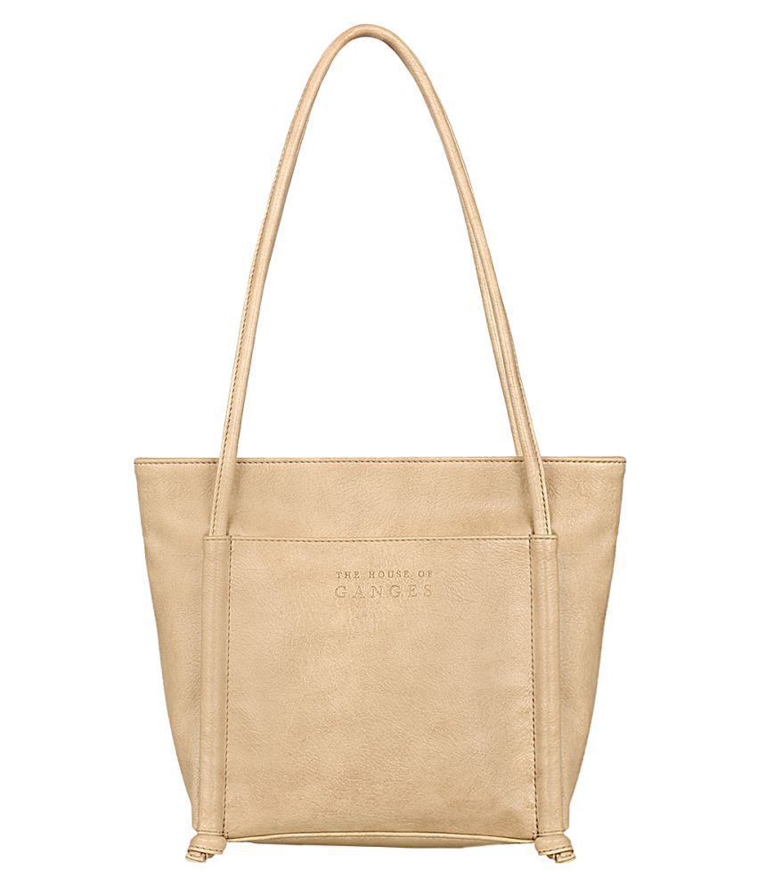 THE HOUSE OF GANGES Cream Faux Leather Tote Bag