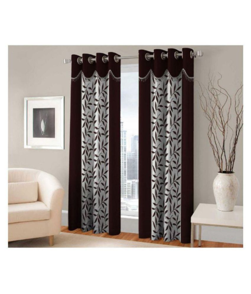 Tanishka Fabs Set of 2 Window Semi-Transparent Eyelet Polyester Curtains Brown