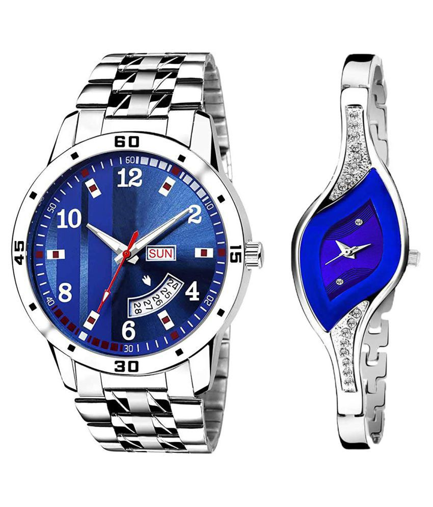 Vasant Impex Blue Dial Day And Date New Stylish Couple Watch For Men And Women 193