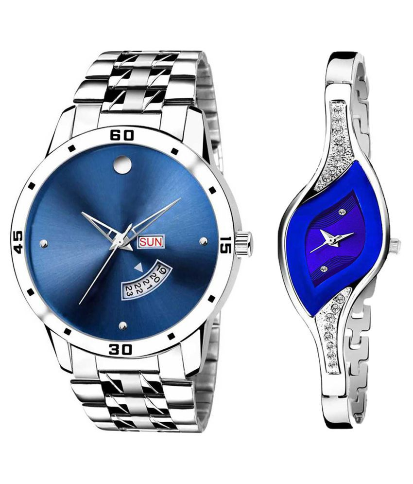 Vasant Impex Blue Dial Day And Date New Stylish Couple Watch For Men And Women 257