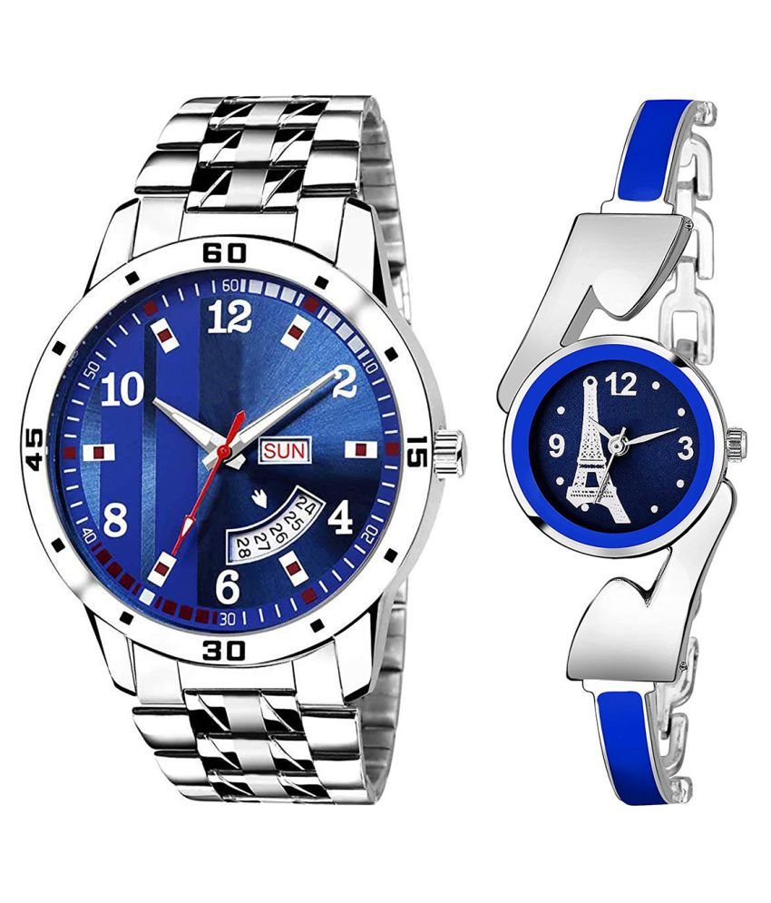 Vasant Impex Blue Dial Day And Date New Stylish Couple Watch For Men And Women 189