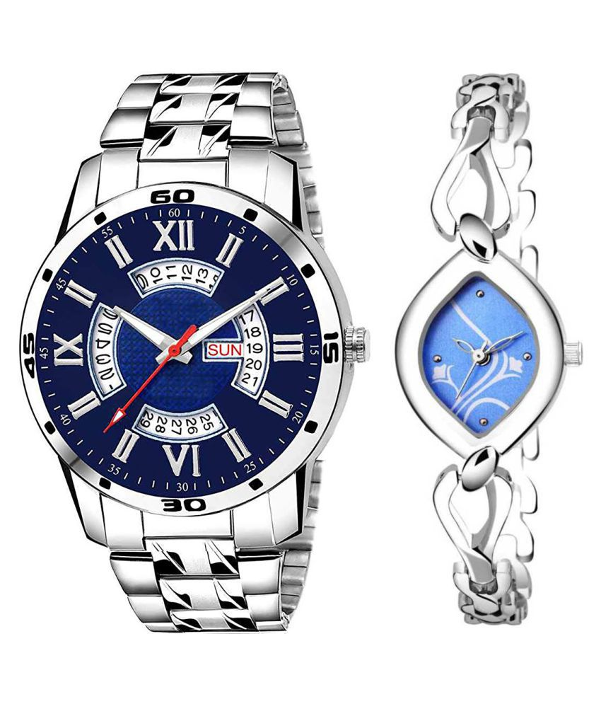 Vasant Impex Blue Dial Day And Date New Stylish Couple Watch For Men And Women 217