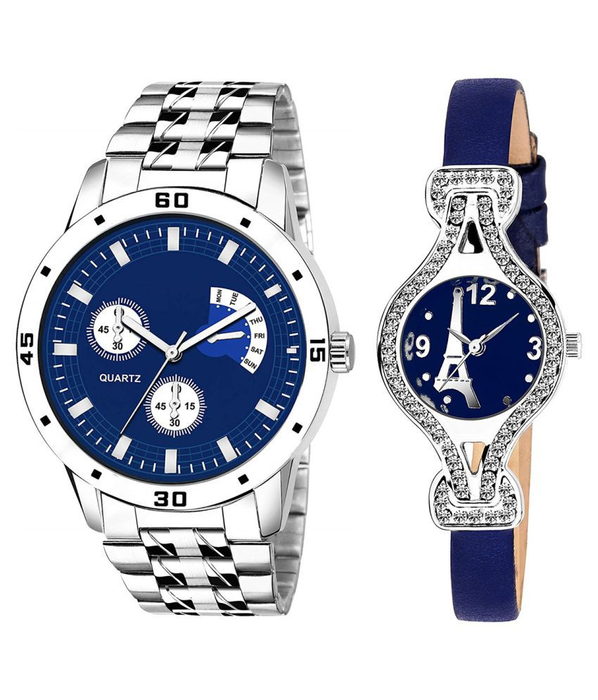 Vasant Impex Blue Dial  New Stylish Couple Watch For Men And Women 284