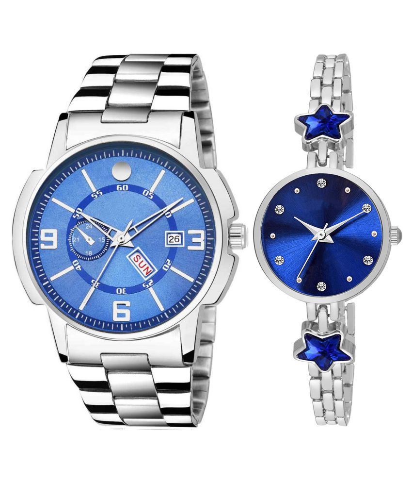 Vrutti Enterprise Blue Dial Day And Date New Stylish Couple Watch For Men And Women 218