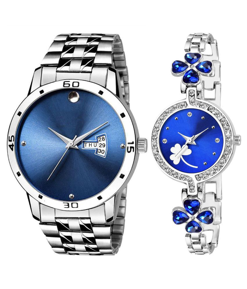 Vrutti Enterprise Blue Dial Day And Date New Stylish Couple Watch For Men And Women 246