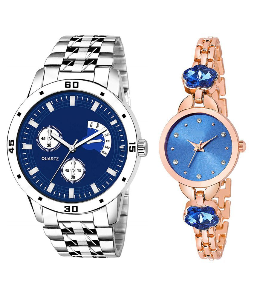 Vrutti Enterprise Blue Dial  New Stylish Couple Watch For Men And Women 287