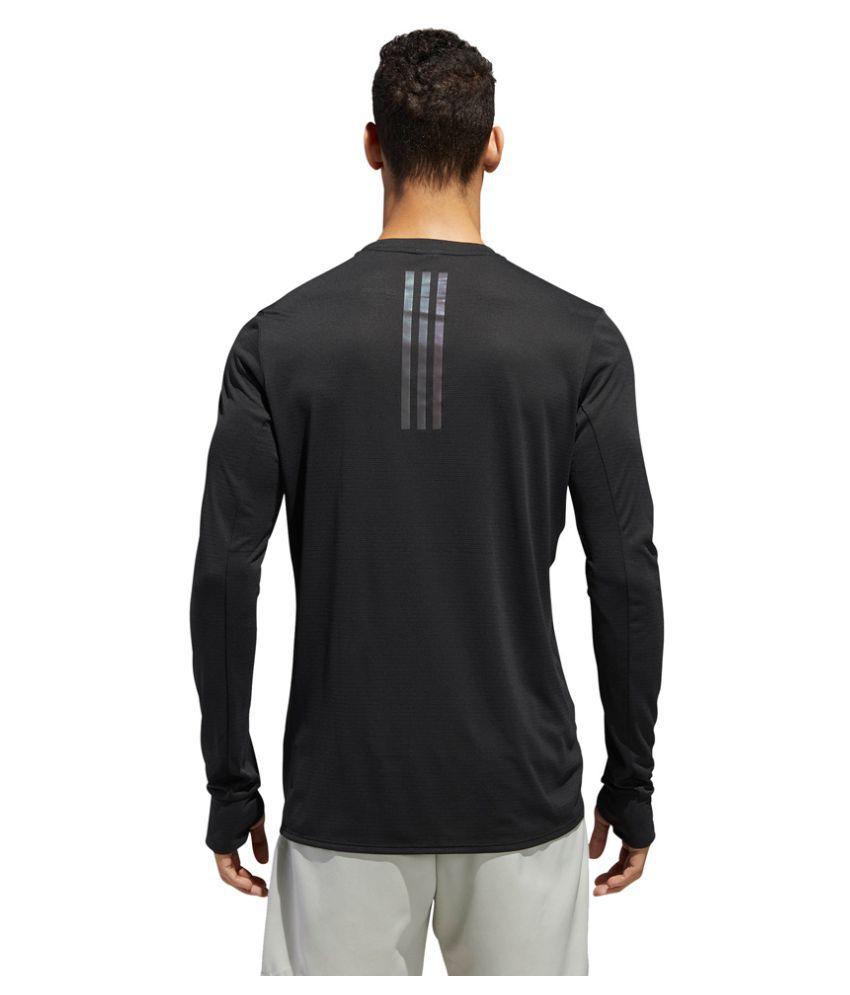 Adidas Black Polyester Lycra T-Shirt