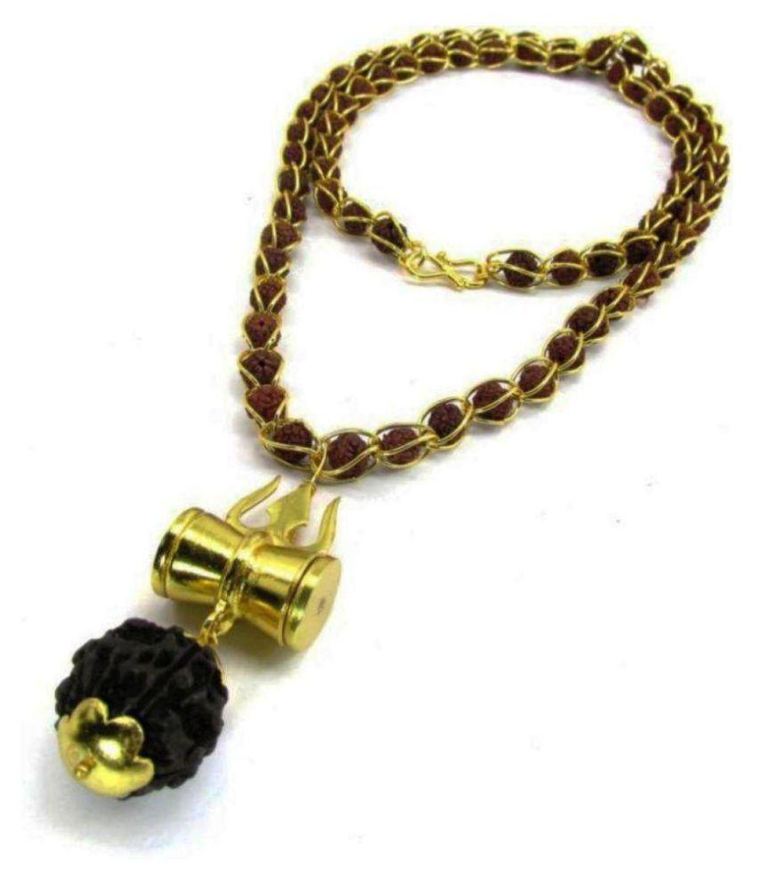 Green Sipitual Shiv Shakti Kavach 5 Mukhi Rudraksha Mala With Shiv Trishul & Damru Brass Necklace Brass Brass Pendant Set