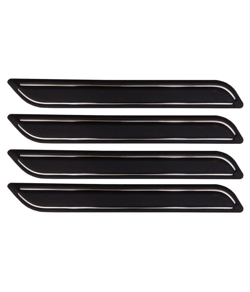 Ek Retail Shop Car Bumper Protector Guard with Double Chrome Strip (Light Weight) for Car 4 Pcs  Black for MahindraBoleroPlusACBSIV