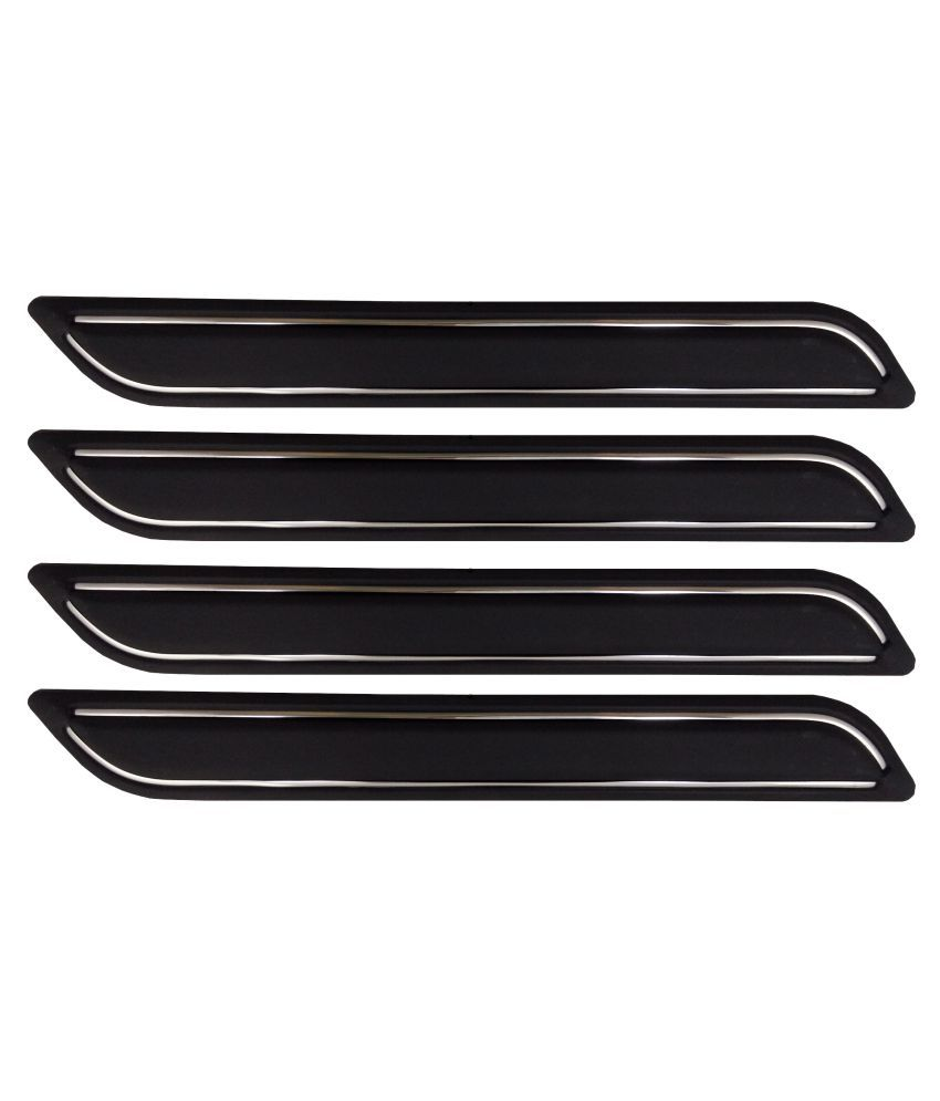 Ek Retail Shop Car Bumper Protector Guard with Double Chrome Strip (Light Weight) for Car 4 Pcs  Black for TataIndigoeCSLS(TDI)BSIII