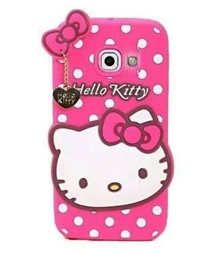 Samsung Galaxy J7 Max Soft Silicon Cases Addindia - Pink 3D Hello Kitty