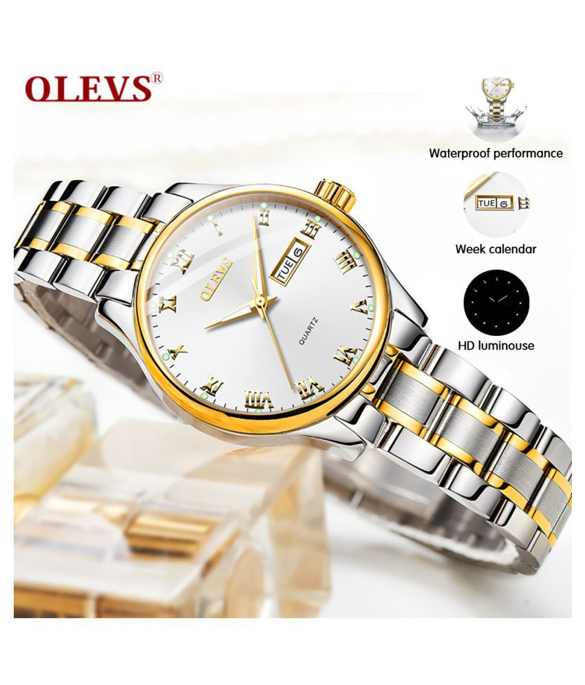 OLEVS White Dial Stainless Steel Metal Strap Waterproof & Scratchproof Analog Womens Watch - 1 Pc