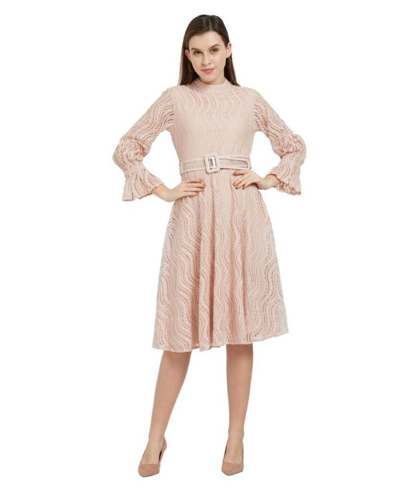 Soie Cotton Pink Fit And Flare Dress