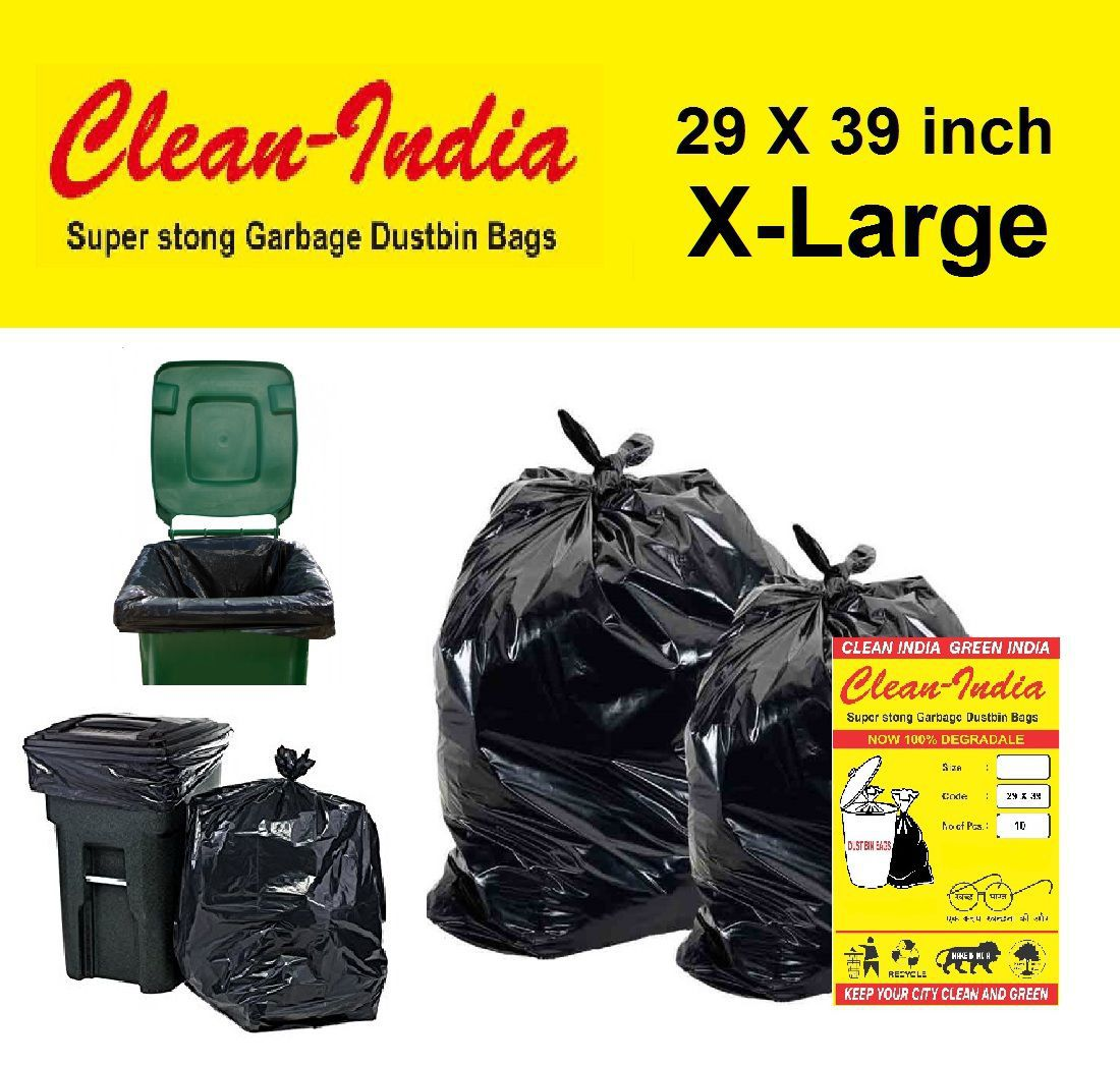 C-I X-Large 20 pcs - 29 Inch X 39 Inch | Black Disposable Garbage Trash Waste Dustbin Bags for 73cm x 99cm | pack of 2 X 10 bags - total 20pcs