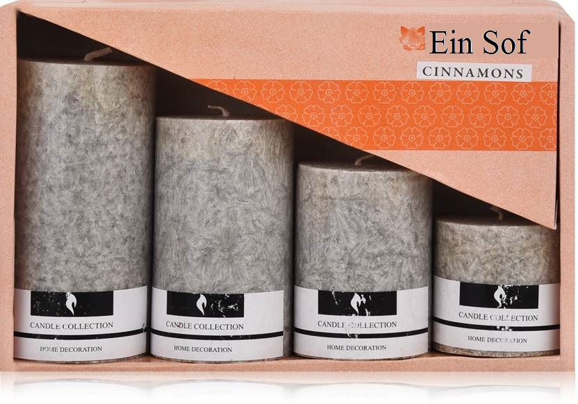 Ein Sof Grey Pillar Candle - Pack of 4