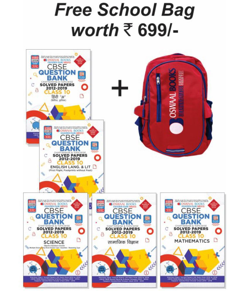 Oswaal CBSE Question Bank Class 10 (Set of 5 Books) Hindi A, English, Sci ,  Social Sci  & Maths (For 2020 Exam)(Free Bag Rs  699)