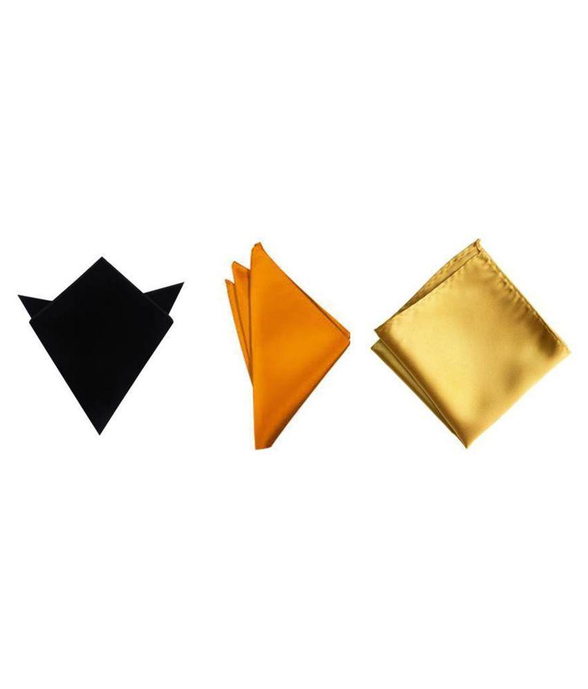 Voici France Black, Orange and Gold satin Solid Pocket Square Combo Pack of 3
