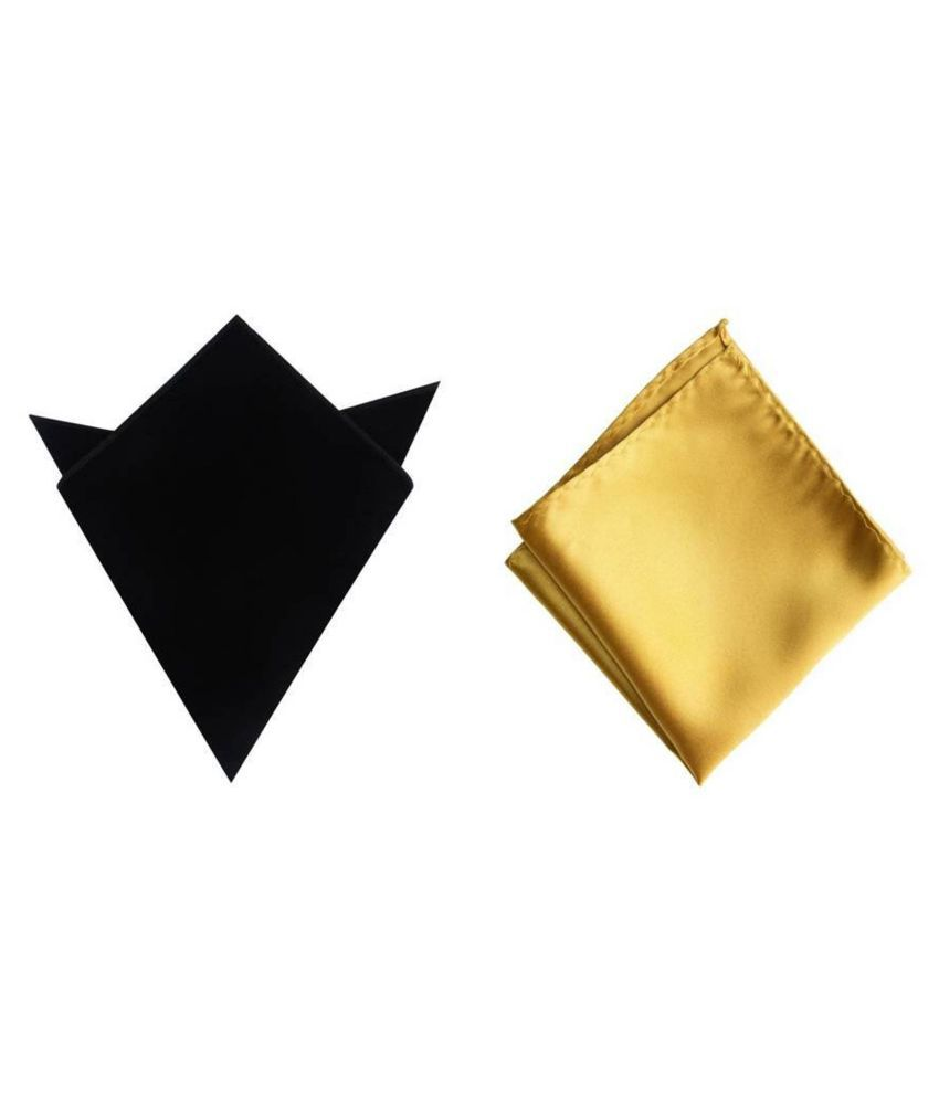 Voici France Black and Gold satin Solid Pocket Square Combo Pack of 2
