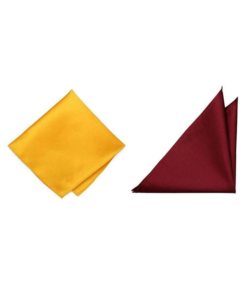 Voici France Maroon and Yellow satin Solid Pocket Square Combo Pack of 2