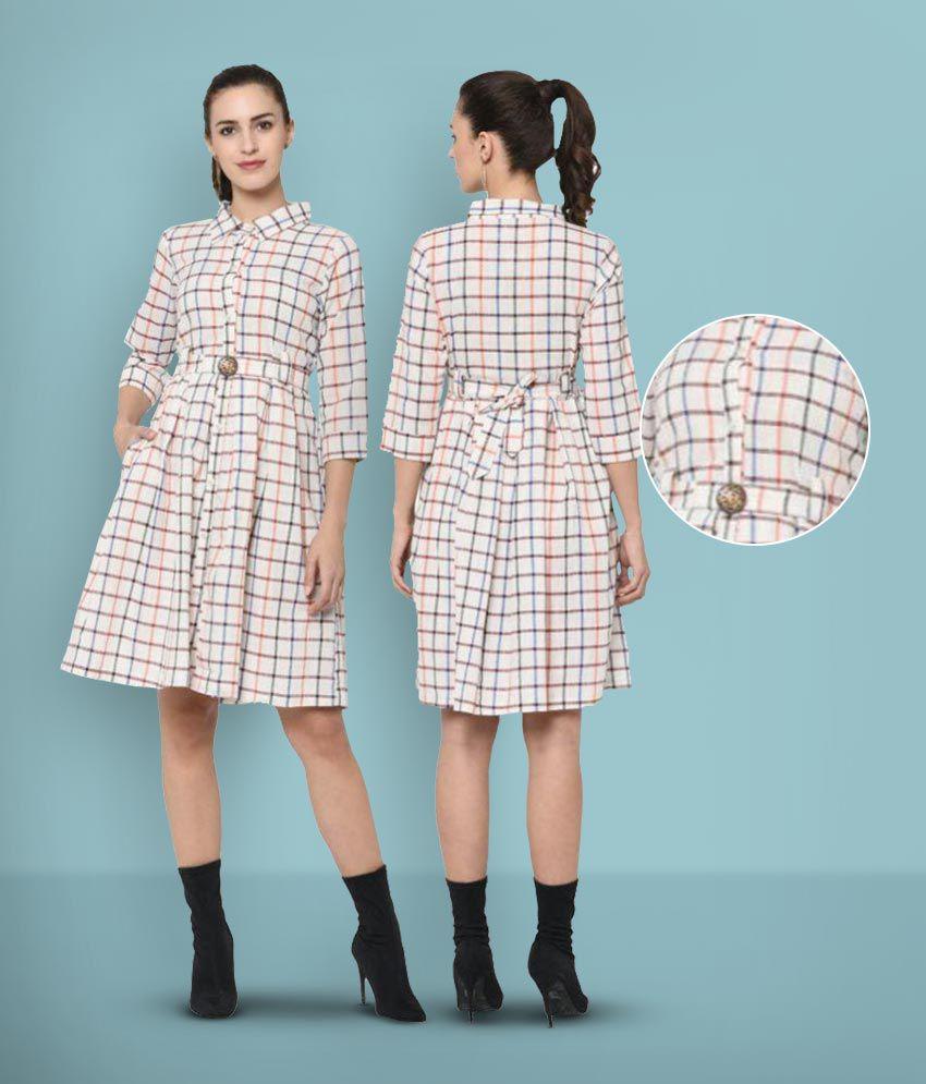 Ayan Cotton White A- line Dress