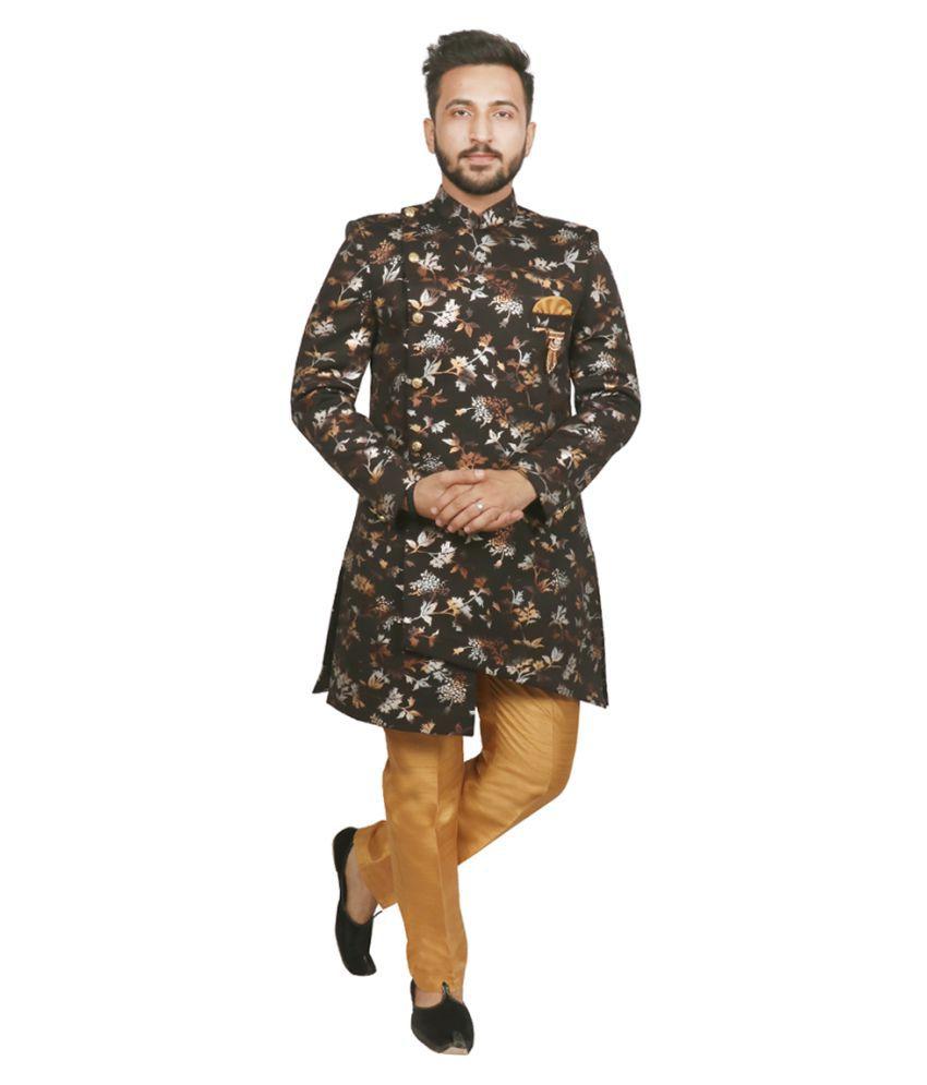 SG RAJASAHAB BLACK Polyester Sherwani