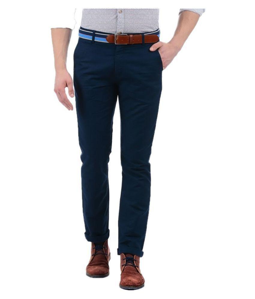 Izod Blue Regular -Fit Flat Trousers