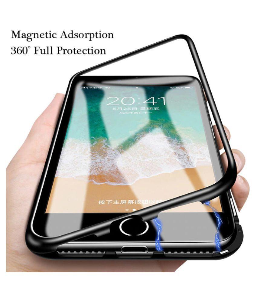 online store e02f3 64503 Vivo Y91 Magnetic Cover Case Worth IT - Black Original Magnetic Metal  Bumper Glass Back Case