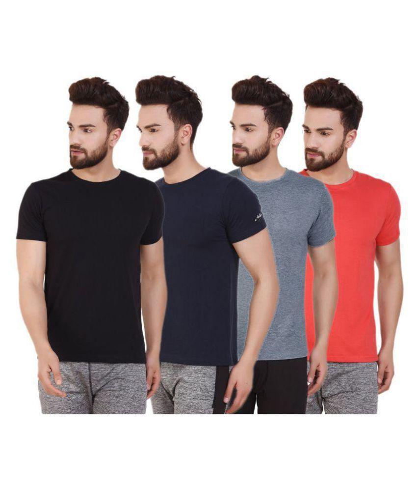 ATHLIV Multi Cotton Blend T-Shirt Pack of 4