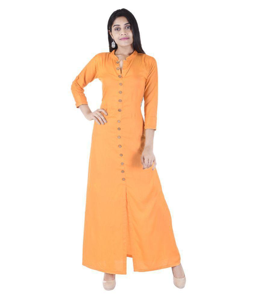 Desier Orange Rayon Front Slit Kurti