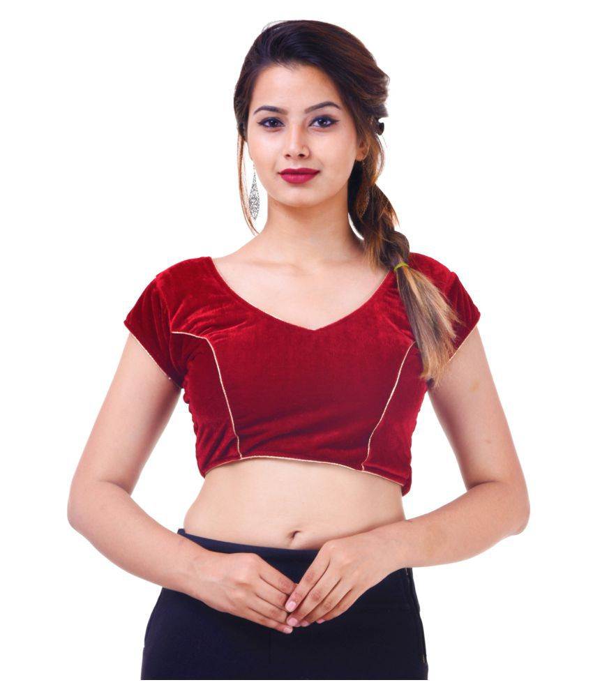 Amazing Maroon Silk Readymade with Pad Blouse