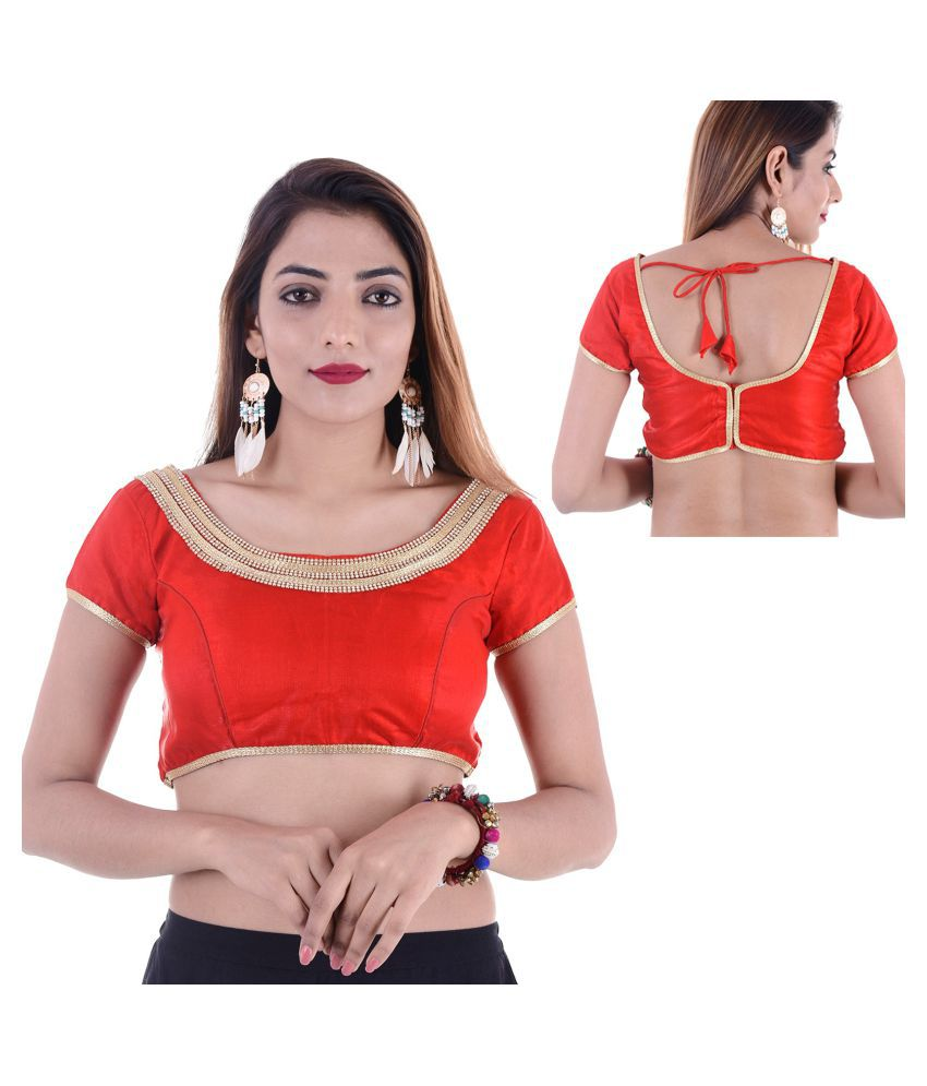 Amazing Red Art Silk Readymade with Pad Blouse