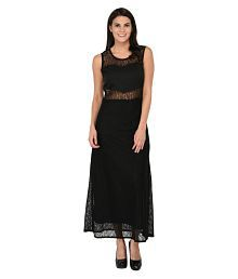 Triraj Net Black A- line Dress