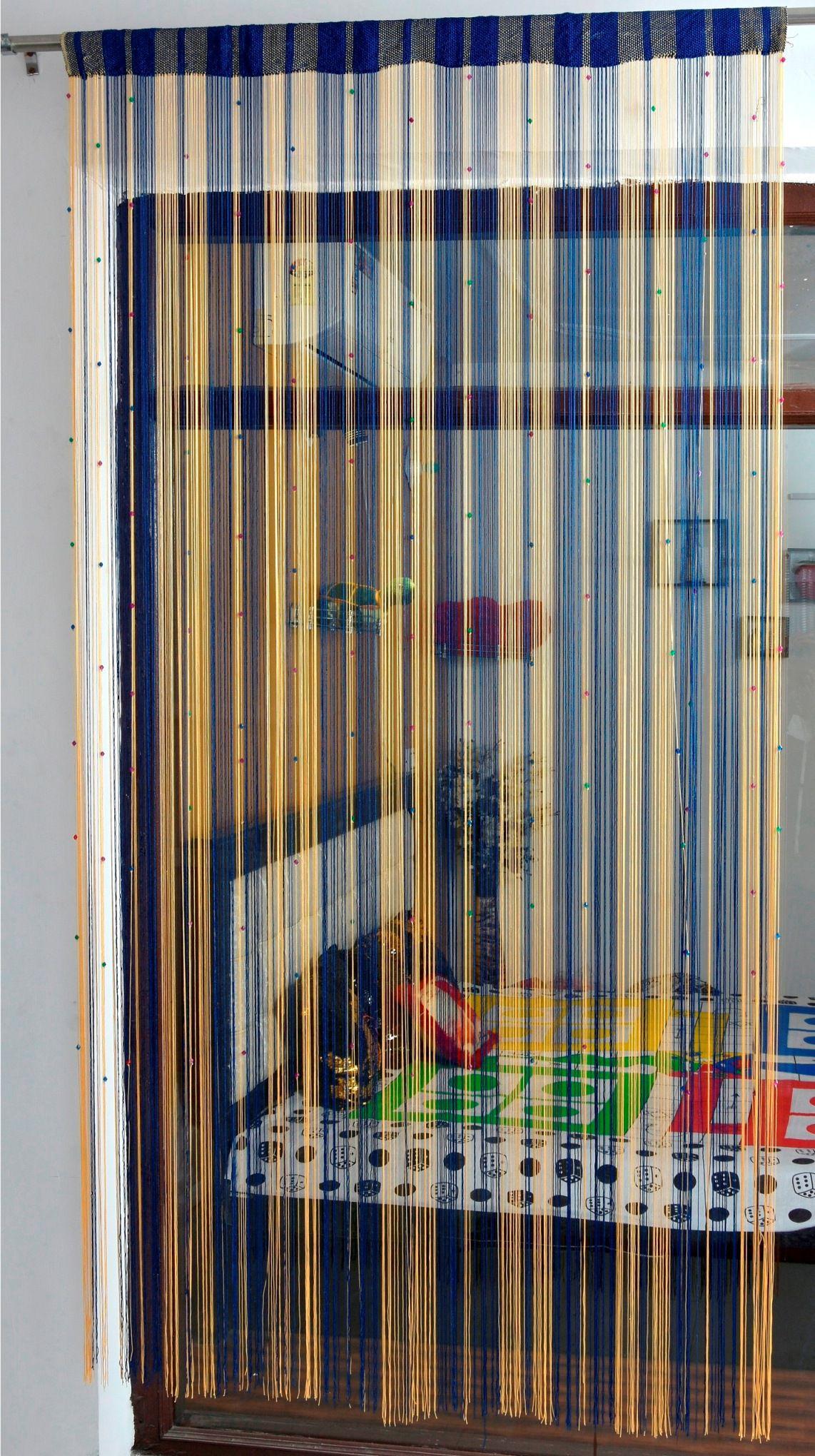 Ace International Exports Single Door Semi-Transparent Rod Pocket Polyester Curtains Navy Blue